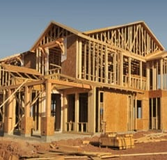two-story house frame under construction