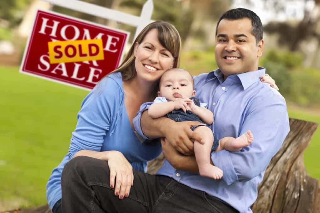 Happy Mix Raced couple Home Buyer