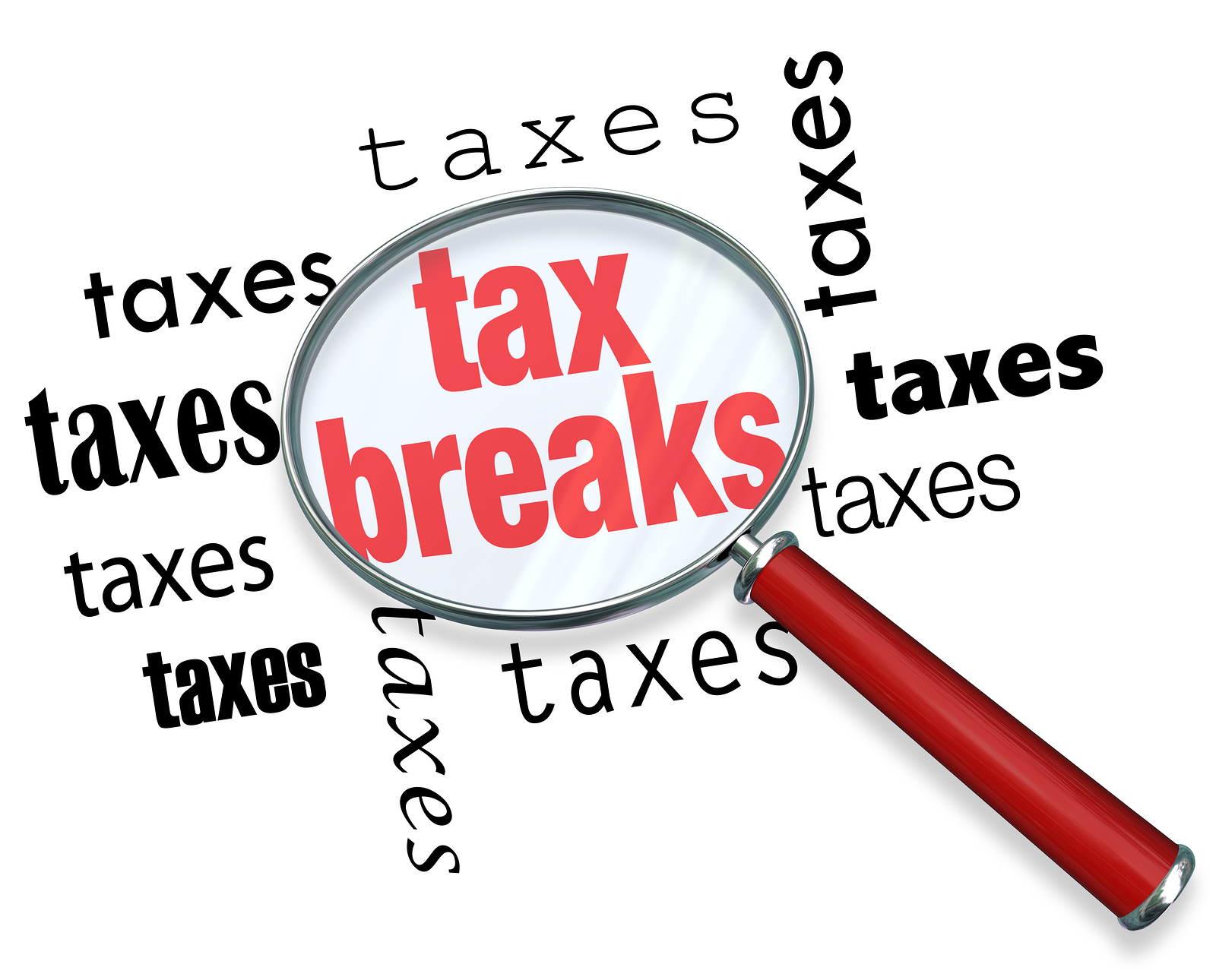 A magnifying glass hovering over the word tax breaks