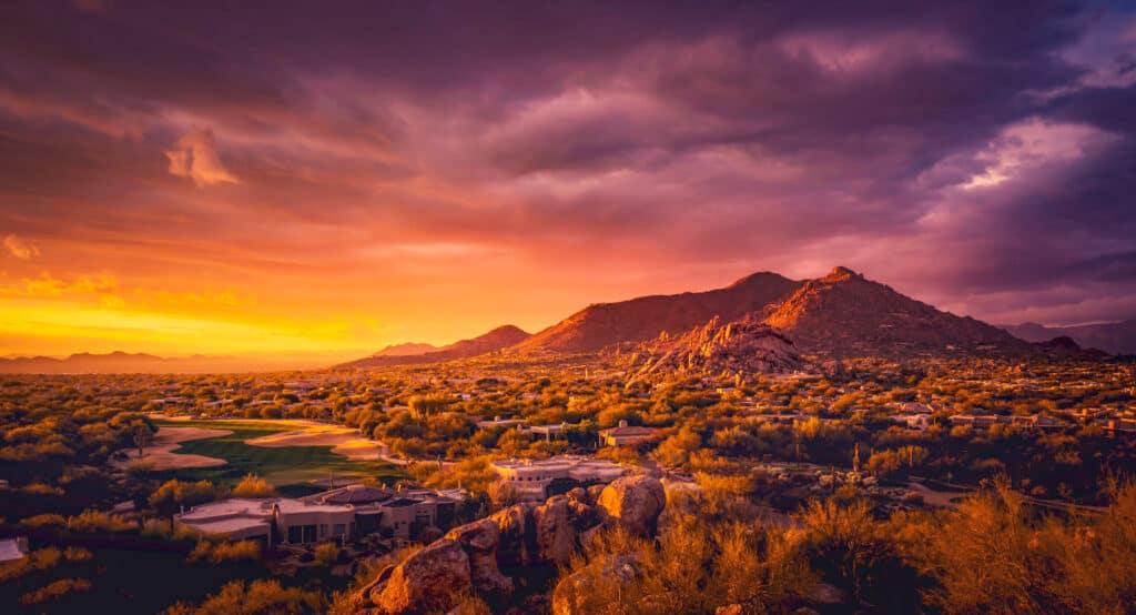 Sunset over an Arizona mountain desert