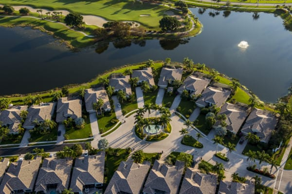 Aerial view of a master planned community