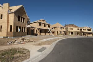 new homes under construction in a community